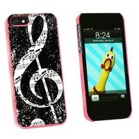 Graphics and More Vintage Treble Clef Music Black Snap-On Hard Protective Case for iPhone 5/5s - Non-Retail Packaging - Pink
