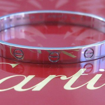Cartier 18Kt Love Bracelet White Gold Size 17 L45638 COMPLETE PACKAGE