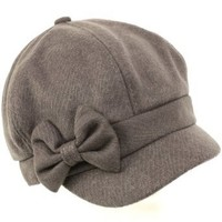 Ladies Winter Fall 6 Panel Newsboy Gatsby Cabbie Driver Ribbon Bow Cap Hat Gray