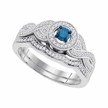 10kt White Gold Women's Round Blue Color Enhanced Diamond Twist Bridal Wedding Engagement Ring Band Set 3-8 Cttw - FREE Shipping (US/CAN)