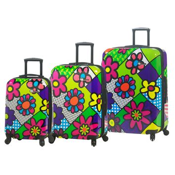 """M by Mia Toro - Flower Hardside 24"""" Spinner Luggage Set (3 Pieces)"""