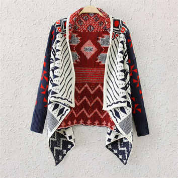Geometry Knitted Cape Sweater Cardigan