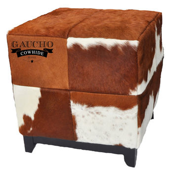 Cowhide Ottoman - Brown and White - Premium Quality - 100% Natural & Animal Product