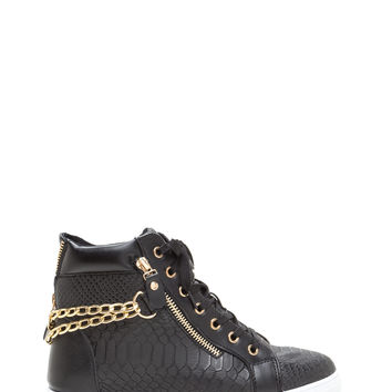 Scale Up Double Chain High-Top Sneakers GoJane.com