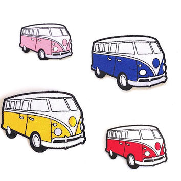 Volkswagen Red Van Applique Iron on Patch Size 9 x 6 cm