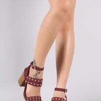 Qupid Studded Triple Straps Chunky Heel