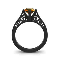 14K Black Gold New Fashion Design Solitaire 1.0 CT Citrine Bridal Wedding Ring, Engagement Ring R26A-14KBGCI