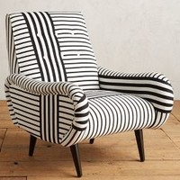 Striped Losange Chair by Anthropologie in Black & White Size: One Size Furniture