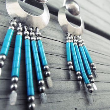 Vintage Sterling Silver Turquoise Earrings by ChezlyXsane on Etsy