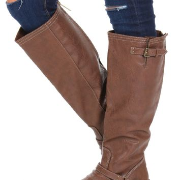 Buckle Riding Boots Tan
