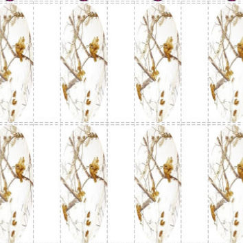20 pc White Camo Winter Camo Snow Camo  Decals Nail Wraps Cow Prints Full Decals Cowgirls French Tips Nail Art Nail Decals #cg161na
