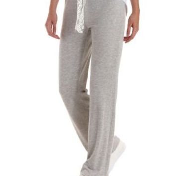 Lt Gray Lace-Drawstring Wide Leg Sweatpants by Charlotte Russe