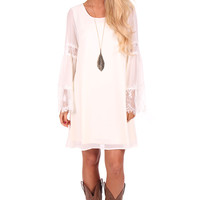 Ivory Lace Detail Bell Sleeve Dress