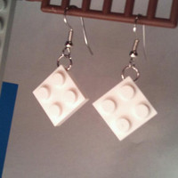 White LEGO Tile Earrings Retro Jewelry by DesignsOfDeLand on Etsy