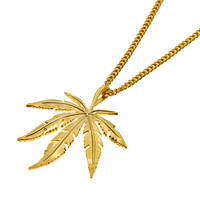14K Gold Plated Ganja Leaf Necklace