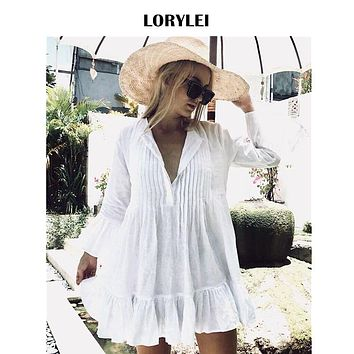 Women Summer Long Sleeve White Cotton Tunic Beach Dress Swim Cover Up Plus Size Sexy V Neck Flare Sleeve Pleated Mini Dress N606
