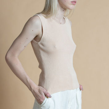 Vintage 90s Cream Ribbed Silk and Cotton Sleeveless Tank | S