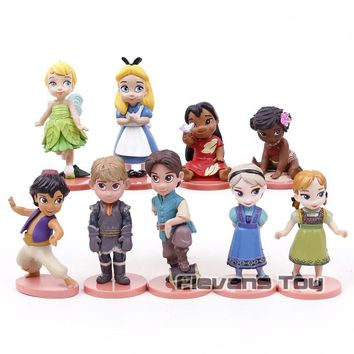 Alice in Wonderland Tinker Bell Moana Queen Elsa Princess AnnaAnimation Cartoon PVC Figures Dolls Girls Gifts 9pcs/set