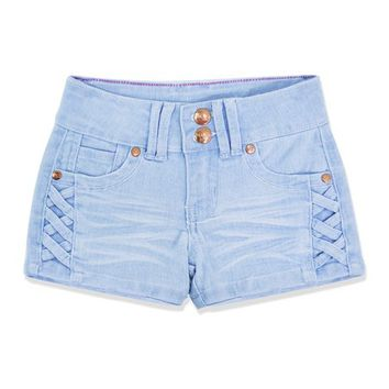 Cutie Patootie Light Denim Crisscross-Accent Shorts - Toddler & Girls