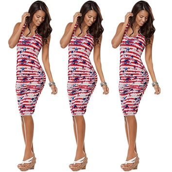 American Independence Day Flag Print Dress