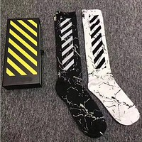 OFF WHITE Men Fashion Casual Sport 100% Cotton Socks+Gift Box