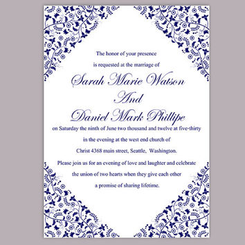 DIY Wedding Invitation Template Editable Word File Instant Download Printable Flower Invitation Blue Invitation Navy Blue Invitation