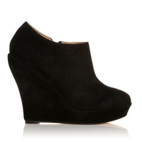 H051 Black Faux Suede Wedge Very High Heel Platform Shoes