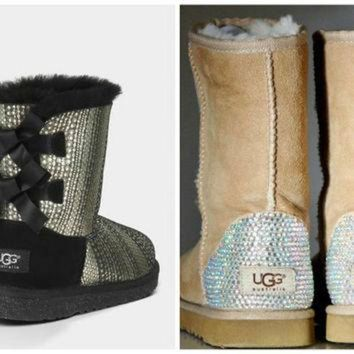 ICIK8X2 Swarovski Crystal Embellished Holiday Limited Edition Bailey Bow Uggs - Winter / Holid