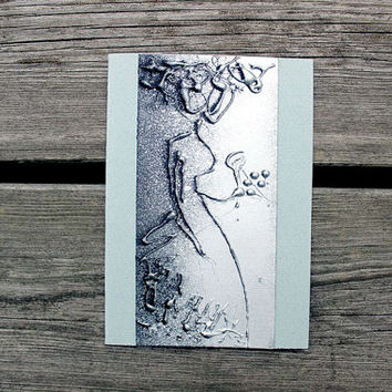 Greeting card A6 4x6 - Silver lady with a rose - mint background