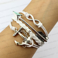 The ancient silver infinity charm, arrow karma charm, the anchor charm bracelet, wax rope bracelet, karma is best gift