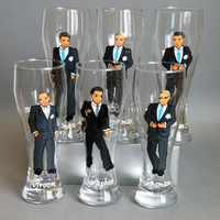 Hand painted bachelor party Personalized Beer glasses Customized Suits Gift - Personalized Caricatures Handpainted to their Likeness