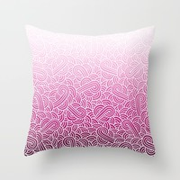 Ombre pink and white swirls zentangle Throw Pillow by Savousepate