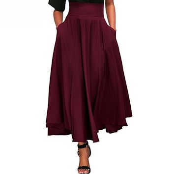 Maxi Skirt : High waist Pleated Maxi Skirt