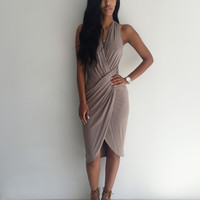 Dark Khaki Sleeveless V-Neck Ruched Midi Bodycon Dress