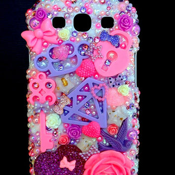 Key to My Heart Decoden Kawaii Bling Samsung Galaxy S3 Snap On Phone Case