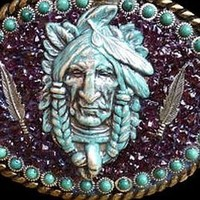 Western Southwestern Native American, Turquoise and Garnet Belt Buckle, Belt Buckles :: Clickin Cowgirls