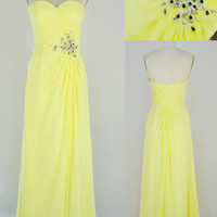Yellow Prom Dress with beading