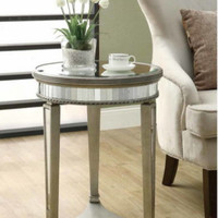 Mirrored End Table Round Top Sturdy Three Legged Living Room Furniture Stylish