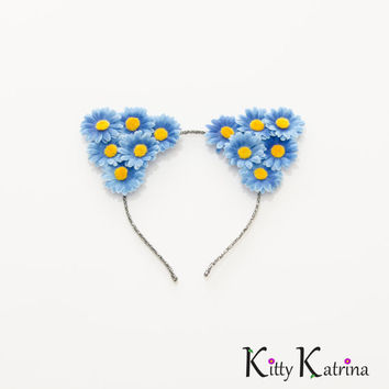 Blue Cat Ear Headband, Floral Cat Ears, Coachella Crown, Electric Daisy Carnival, Ultra Music Festival, Lollapalooza, Electric Zoo, PLUR
