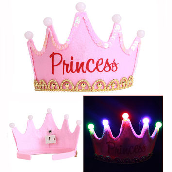 1Pc Creative Flash Birthday Party Caps Personalized Imperial Crown Shape Thicken Kids Birthday Supplies Decoration DYY1633