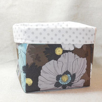 Gray and Blue Floral Fabric Basket For Storage Or Gift Giving