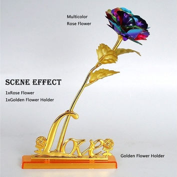 24cm Handcrafted Handmade 24k Gold Foil Rose Flower Dipped Long Stem Lovers Wedding Gift 1 Piece [8270470785]
