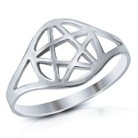 925 Sterling Silver Wicca Pentacle Ring - Size 7