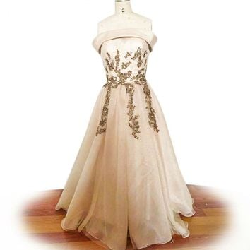 Strapless tulle prom dress elegant appliques evening dresses long formal evening gowns dresses