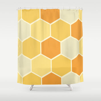 Yellow Honeycomb Shower Curtain by spaceandlines