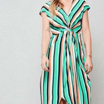 Women's Multicolored Stripe Midi Dress with Front Knot Detail