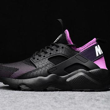 Best Online Sale Nike Air Huarache 4 Rainbow Ultra Breathe Women Black purple Running Sport Casual Shoes Sneakers - 919