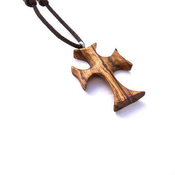 Wood Jewelry, Wood Cross Pendant, Religious Pendant, Bocote Wooden Cross, Wood Pendant, Wood Carved Cross, Handmade Cross, Christian Jewelry
