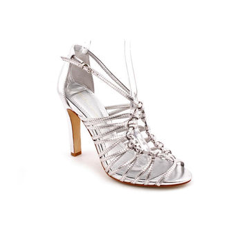 BCBGeneration Peetie Silver Strappy Stillettos Women's 9.5 M NIB