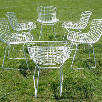 SALE  6 Vintage Knoll Bertoia Chairs dining chairs  Mid Century Modern Furniture Eames Era Chairs